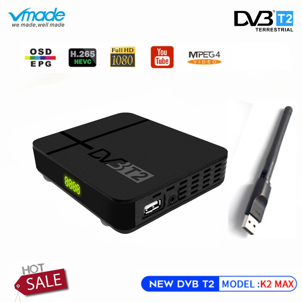 Vmade Newest Full HD DVB-T2 K2 MAX TV Receiver Built-in RJ45 LAN Support YouTube PVR H.265 1080p DVB T2 Set Top Box+USB WIFI