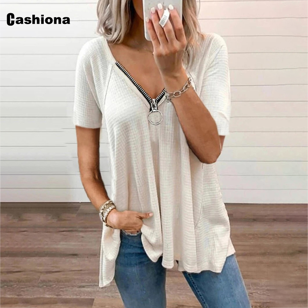 Cashiona Plus Size Women Short Sleeve T-shirt Patchwork Zipper Loose Women's Top Clothing 2021 Summer Casual Tee shirt Femme 5xl