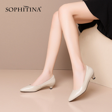 SOPHITINA New Office Women Pumps Slip-On High Quality Cow Leather Shallow Solid Elegant Comfortable Shoes Convenient Pumps PO405 2020 new fashion cow leather shallow square heel big size women pumps slip on elegant wedding office lady party metal sexy shoes