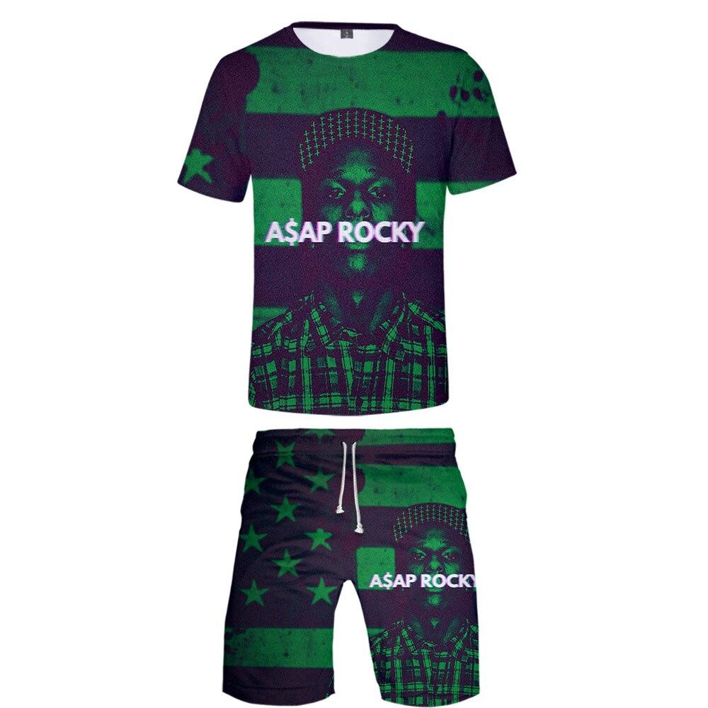 ASAP ROCKY 2019 3D imprimer mode Cosplay Costume à manches courtes décontracté T-Shirts + printemps été conseil Shorts décontracté enfants