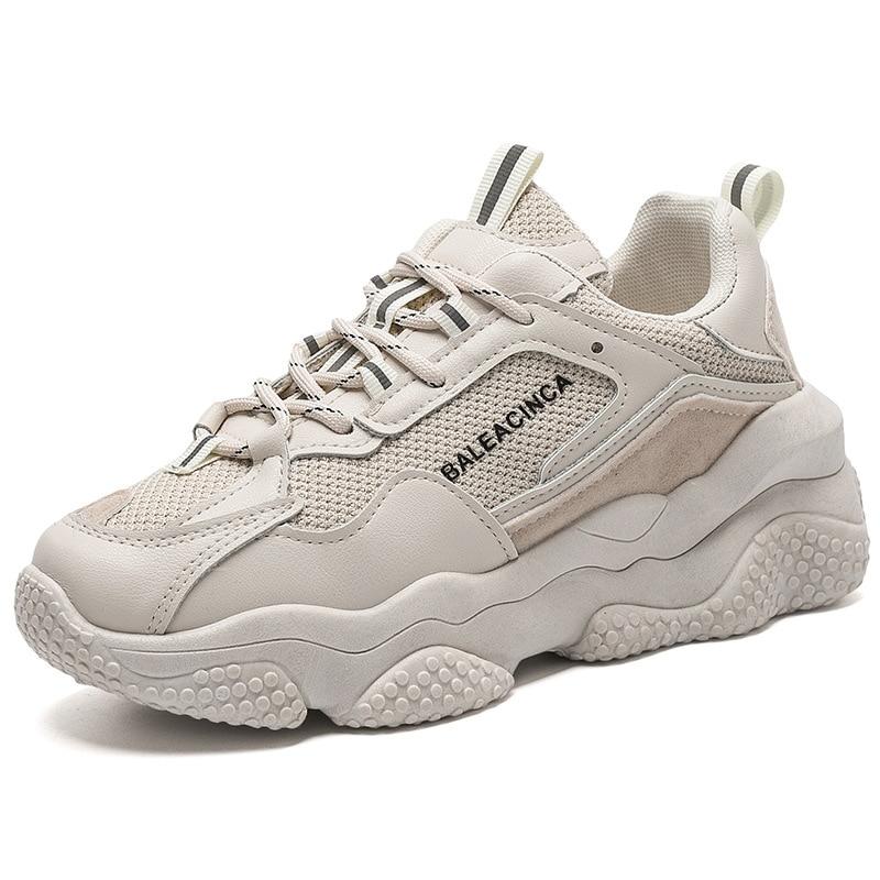 Sneakers Women Chunky 2020 Spring Fashion Flat Platform Shoes  BLACK BEIGE Women Casual Trainer Shoe 2H85