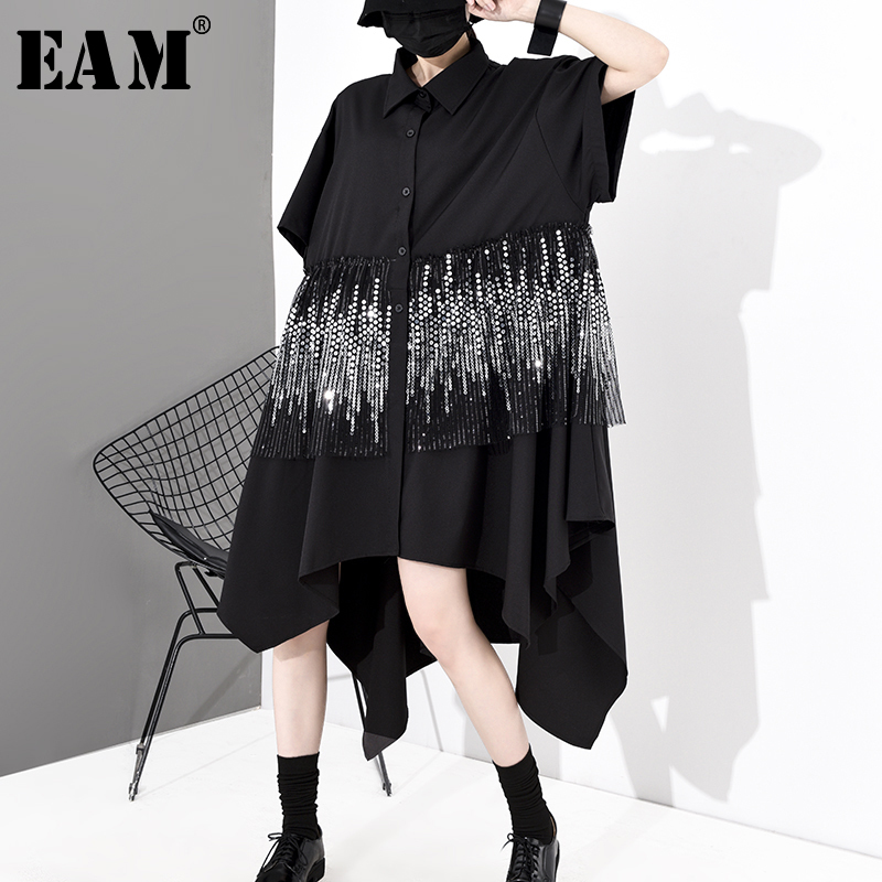 [EAM] Women Black Sequins Taseels Big Size Shirt Dress New Lapel Half Sleeve Loose Fit Fashion Tide Spring Autumn 2020 1S052