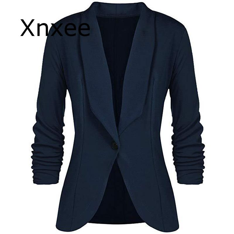 Office Lady Blazers Coat Solid Long Sleeves Cardigan Button Casual Suit Navy Blue Draped Slim Cotton Women Blazer Jacket