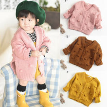 Toddler Winter Clothes Kids Baby Girl Knitted Sweater Coat Long Sleeve Solid Cardigan Jacket Small Ball Decoration Outwear