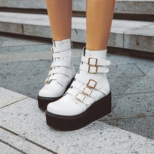 Women Ankle Boots High Heels Pumps Matin Wedges Shoes Woman Chaussure Zapatos Mujer Gladiator Platform PU Leather Booties WXZ246 стоимость