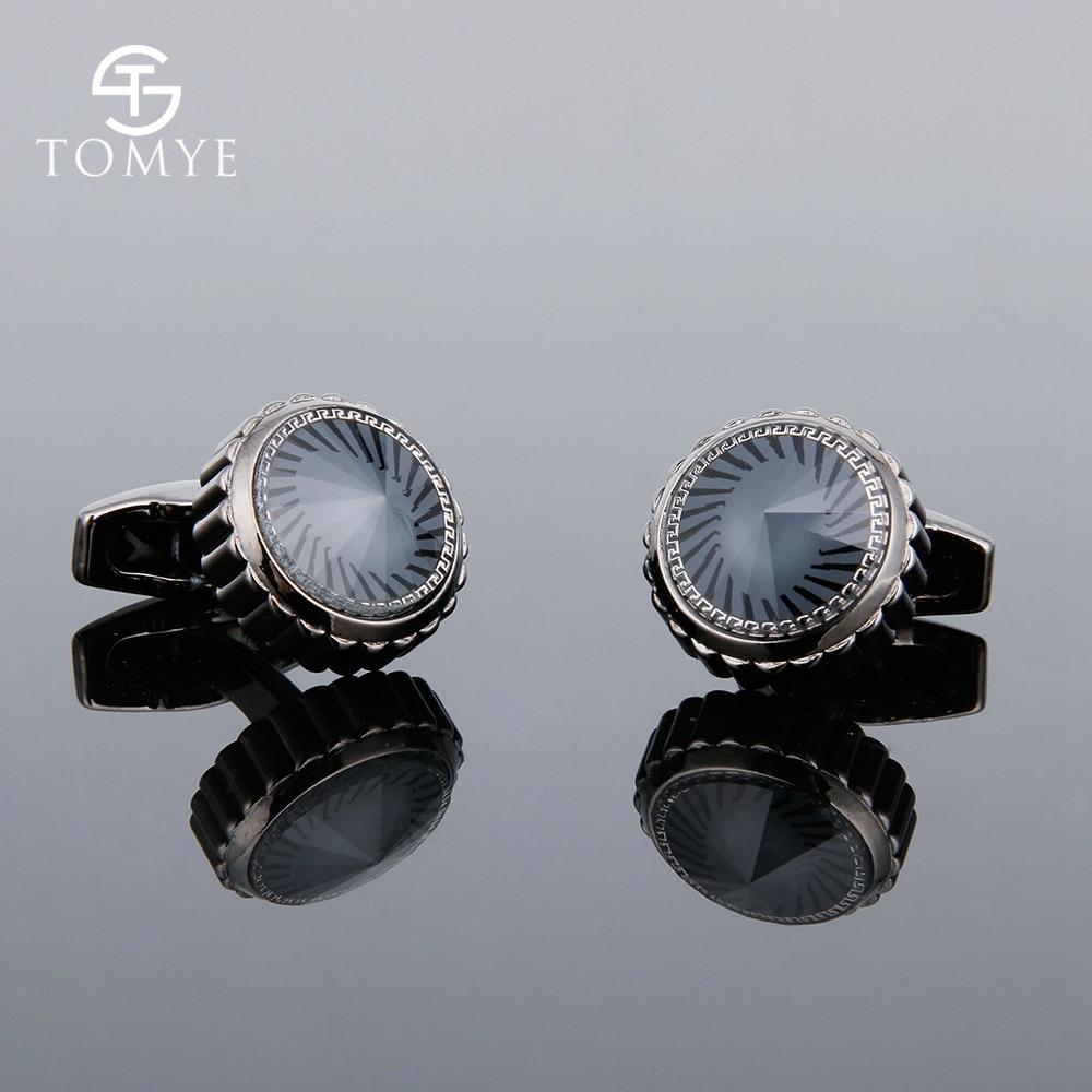 TOMYE Cufflinks For Mens Black Gun Round Luxury Crystal Novelty Gear High End Cuff Links Wedding Custom XK19S097