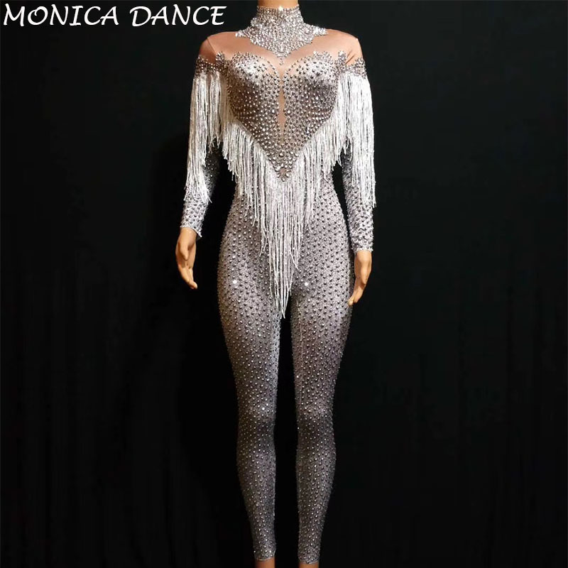 Women Silver Rhinestones Nude Stretch Jumpsuit Sexy Fringes Dance Bodysuit Performance Party Celebrate Stage Show Dance Costume