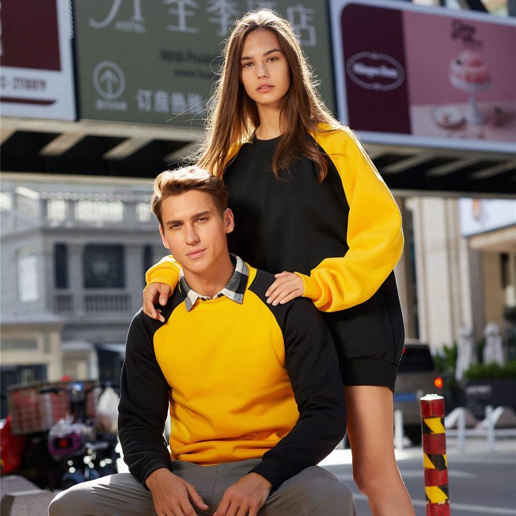 Best Selling Woman Sportswear Autumn Unisex Korean Simple Couple Style Leisure Soild Color Loose Pullovers Sweatershirt thumbnail