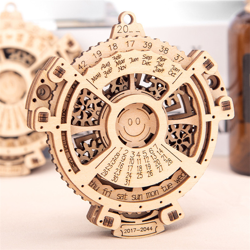 Wooden DIY Perpetual Calendar Model Building Kits Assembly Toy 3D Puzzle Mechanical Transmission Creative Educational Kids Toys