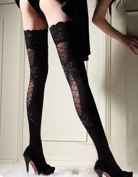 Hot Sexy Women´s Sheer Lace Top Thigh-Highs Stockings Belt Suspender Lingerie Fishnet For Women Medias