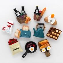 Магнитная наклейка на холодильник для домашнего декора, клейкие заметки, машина для хлеба, томатный сковорода для яиц, чайник, модель молока...