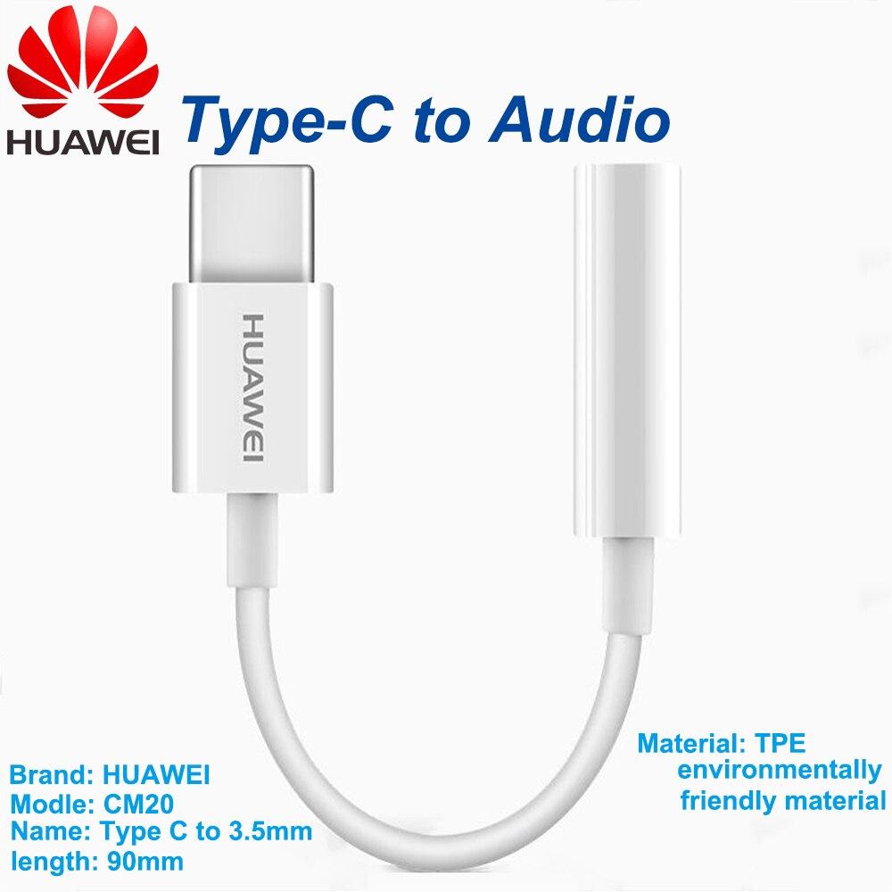 Аудиокабель HUAWEI с разъемом типа C 3,5, кабель для наушников с разъемом USB C на 3,5 мм, адаптер для наушников Huawei P10 P20 pro Mate 10 Pro 20