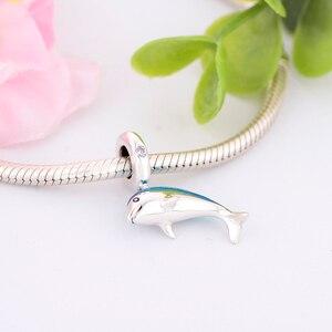 Оригинальный Пандора браслет 100% бусины из стерлингового серебра 925 мерцающий Дельфин болтается Шарм bamoer DIY кулон ювелирные изделия