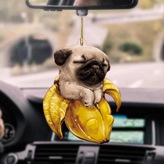 BANANA PUG SLEEPING CAR HANGING ORNAMENT  1