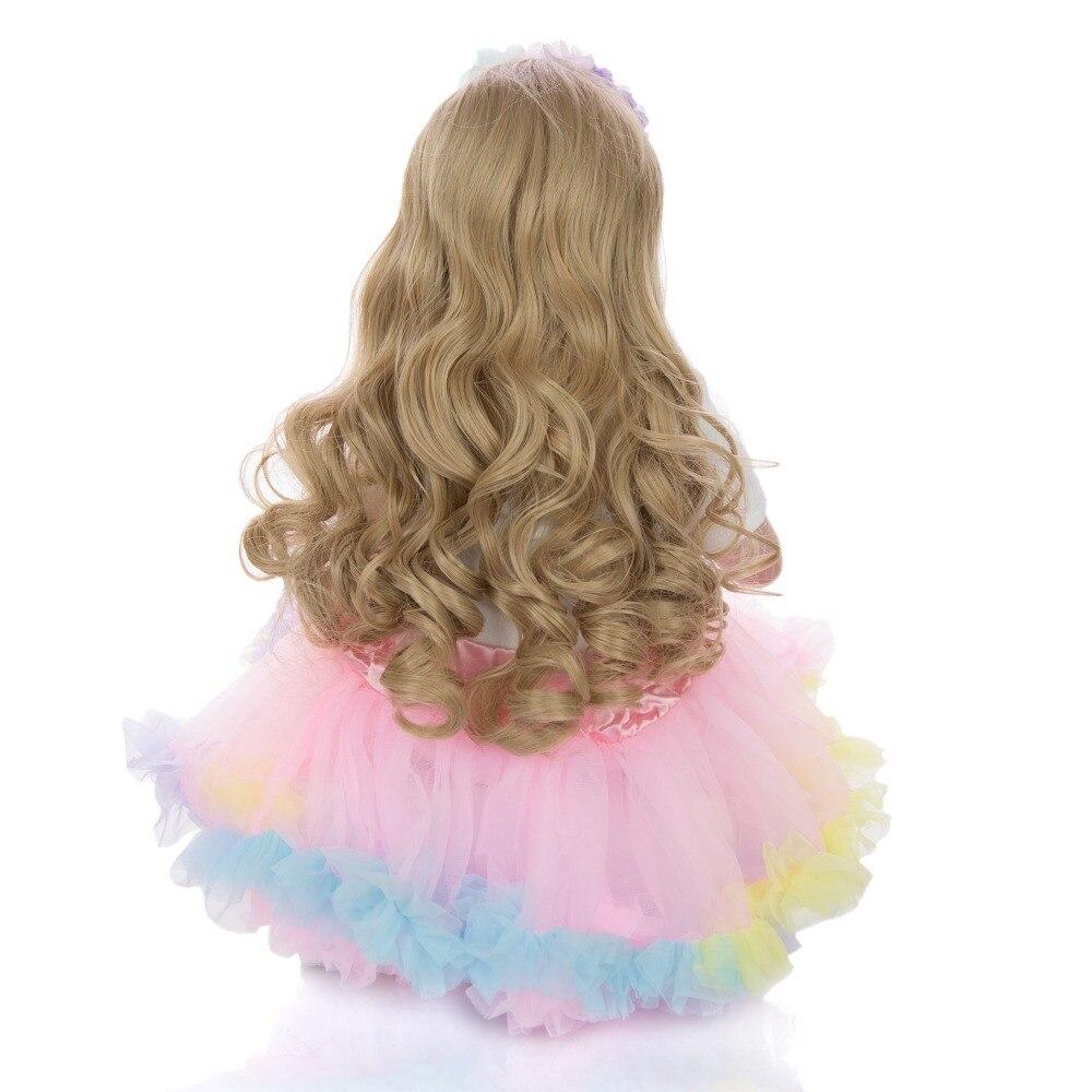 Grand 60 cm bebes Reborn bambin fille poupées réaliste princesse blonde perruque silicone vinyle Reborn bébé poupée lol pour enfants cadeau jouets - 6