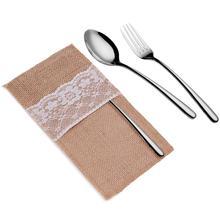 10 шт./лот, натуральное джутовое кружево, карманы, деревенский стиль, свадебная посуда, упаковка, вилка и нож, мешковина, держатель, карман для столовых приборов