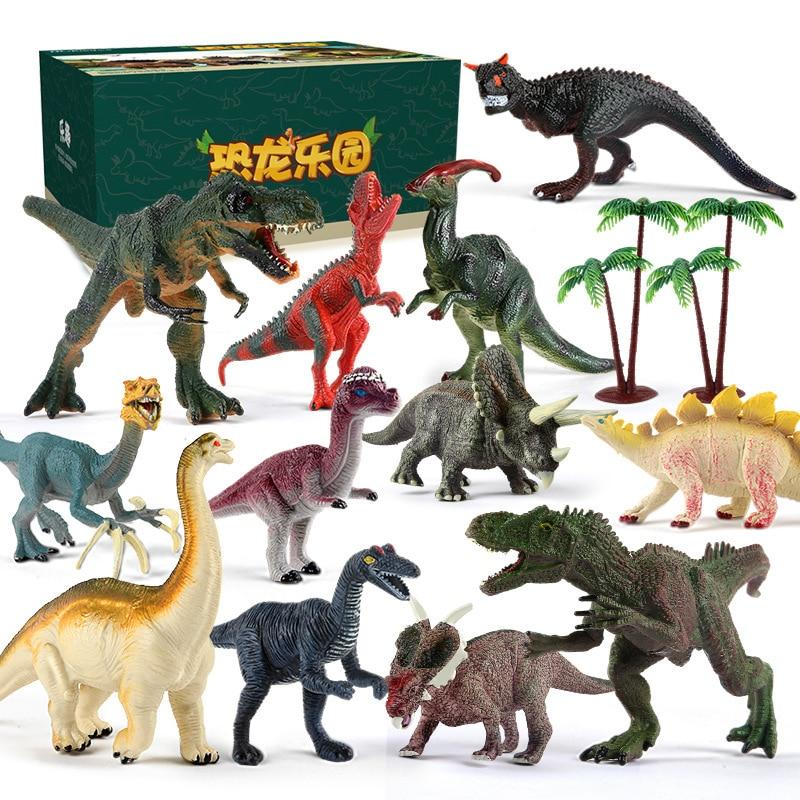 14pcs/ Set Large Simulation Dinosaur Toy Soft Dinosaur Building Blocks Toys DIY Dinosaur Family Early Childhood Cognitive Model