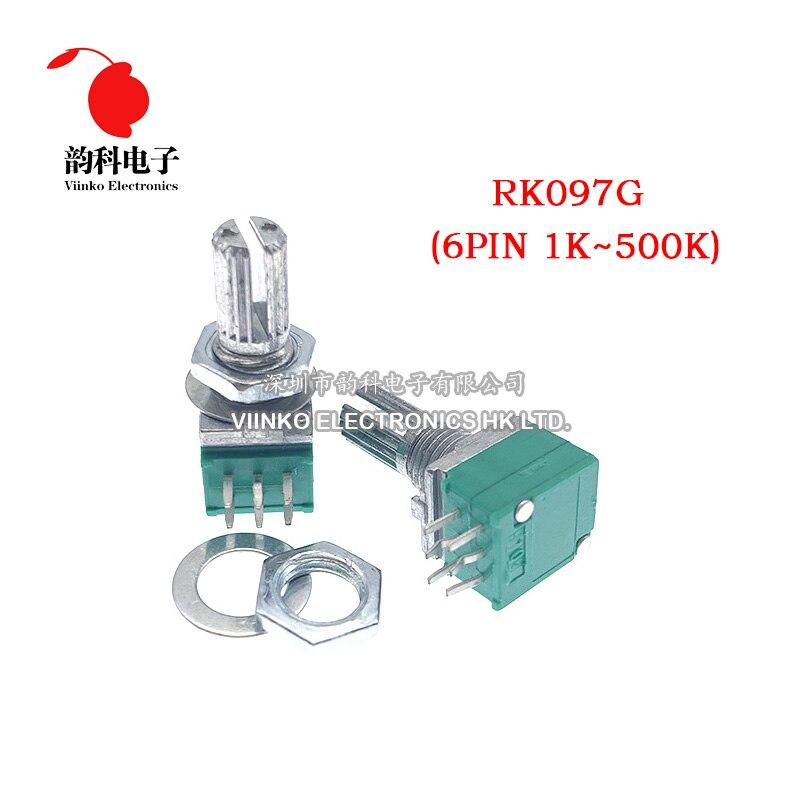 5 шт. RK097G 1K 5K 10K 20K 50K 100K 500K B1K B5K B10K B100K с переключателем звука 6-контактный вал 15 мм усилитель, герметичный потенциометр