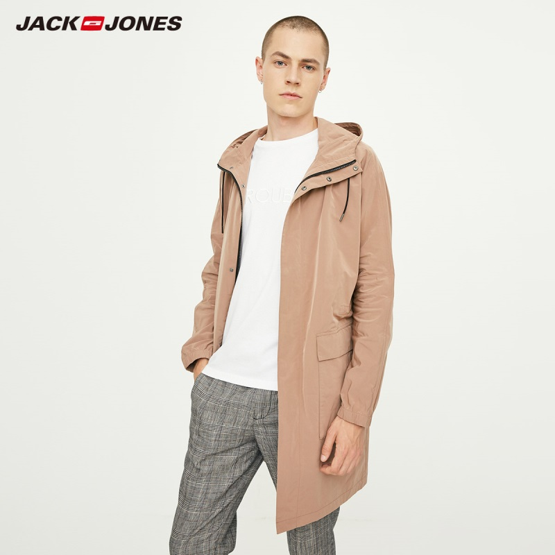 JackJones Autumn Men's Light Weight Trench Coat Casual Hooded Windbreaker Jacket  Basic 218321543