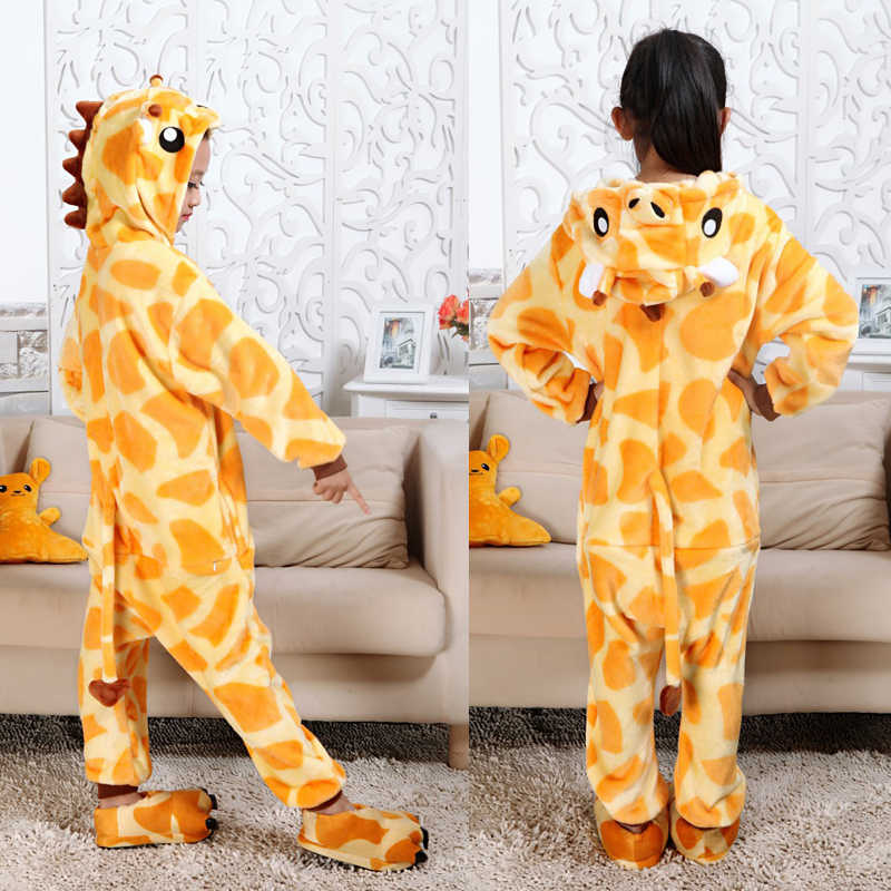 Girls Clothes Kids Giraffe Unicorn Pajamas Kigurumi Cartoon Animal Pink Licorne Onesie Sleepers Boy Halloween Costume Jumpsuit