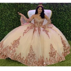Блестящее бальное платье Бальные платья с decable рукавами Милая Тюль винтажная Кружевная аппликация сладкий 16 платье праздничная одежда