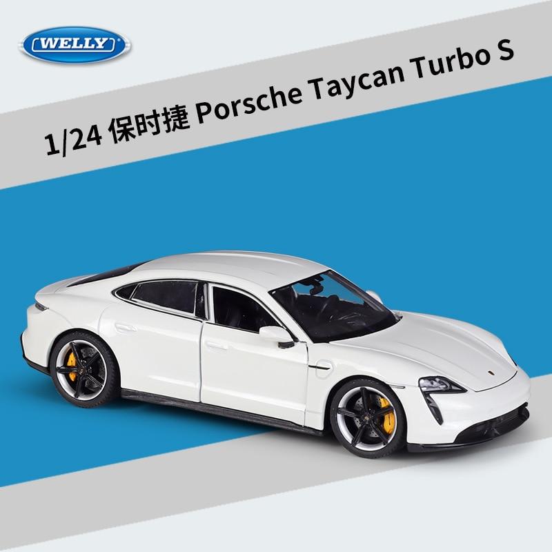 WELLY – voiture de sport en métal moulé sous pression 1:24, modèle de voiture pour enfants, Porsche Taycan Turbo S, simulateur élevé, Collection de cadeaux
