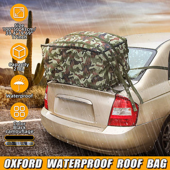 100X50X43cm Car Roof Top Bag Oxford Waterproof Roof Top Bag Rack Cargo Carrier Baggage Bag Rack Storage Luggage Car Travel image