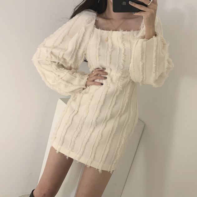 Hc13f71b6049746fd8a66a8887353cd2fP - Autumn Square Collar Puff Sleeves Tassel Solid Mini Dress