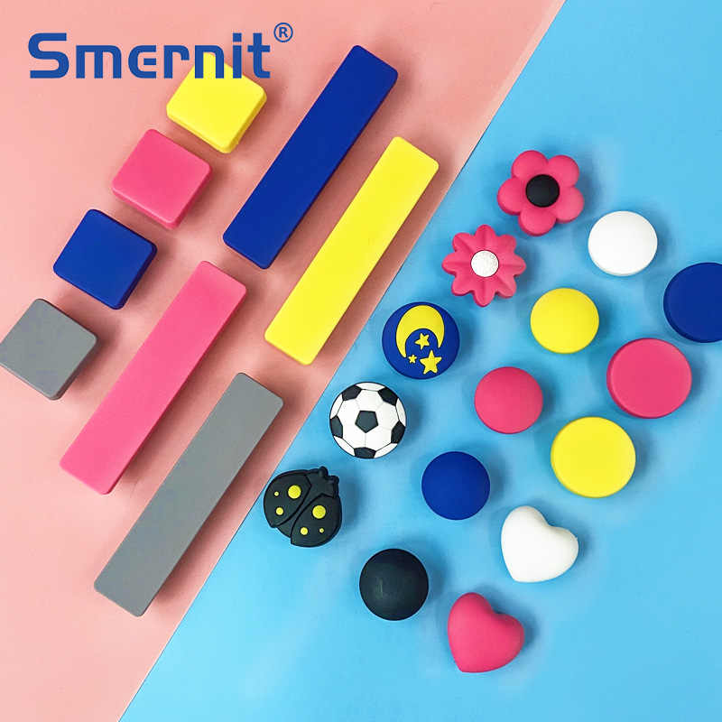 Rubber Door Handles Children Colorful Pink Blue Yellow Round Kitchen Cabinet Knobs and Handles Furniture Handle Drawer Pulls