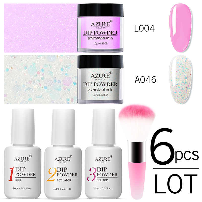Azure Beauty Pink Putih Dipping Bubuk Nail Art Base Top Gel Set Gemerlapan Holo Kuku Pigmen Debu Bubuk Dip Bubuk kit
