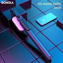 Bonola integrado de metal portátil selfie vara suporte ao vivo bluetooth controle remoto tripé selfie haste telescópica com luz preenchimento