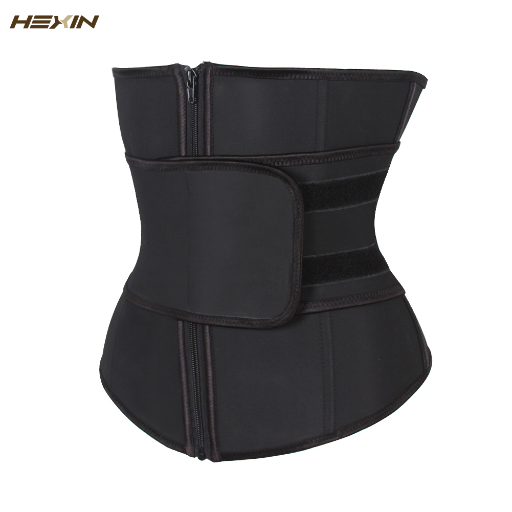 Hexin cinto abdominal alta compressão zíper plus size látex cintura cincher espartilho underbust corpo fajas suor cintura trainer