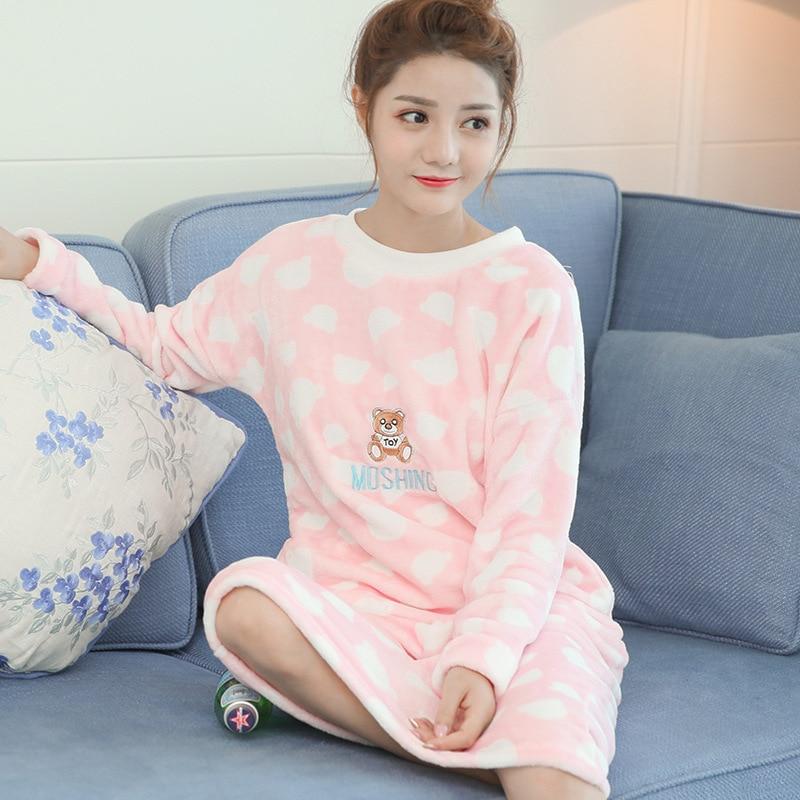Coral Velvet Nightgown Women's Autumn & Winter Korean-style Students Sweet Warm Flannel Cute Little Bear Pajamas Winter Home Wea