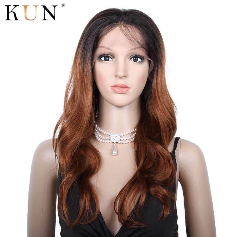#4 Light Brown Ombre Human Hair Wig 1B 30 Colored Wavy 150% Remy Lace Front Human Hair Wigs Brazilian 13x4 Glueless Lace Wig