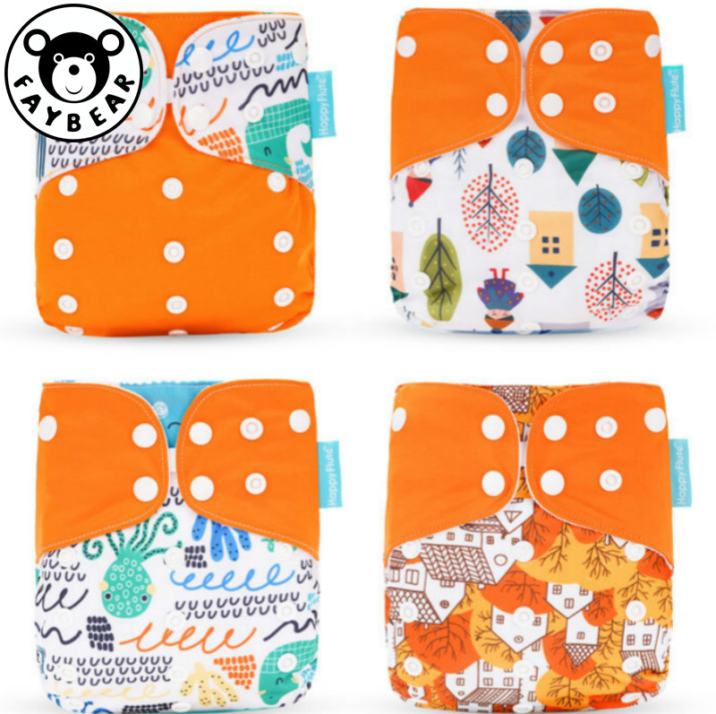 Baby 4pcs/set Washable Eco-Friendly Cloth Diaper Cover Adjustable Nappy Reusable Cloth Diapers Cloth Nappy Fit 3-15kg Baby