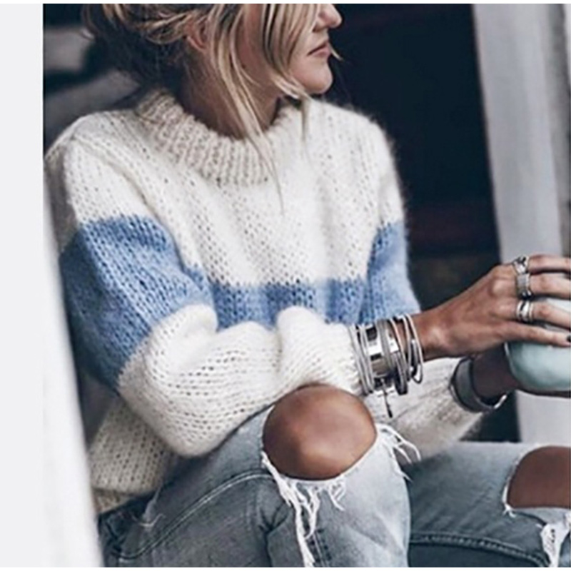 Autumn Winter Women's Loose Knitted Sweater Long Sleeve O-Neck PatchWork Pullover Sweaters For Female 19 Fashion Warm Clothes 6