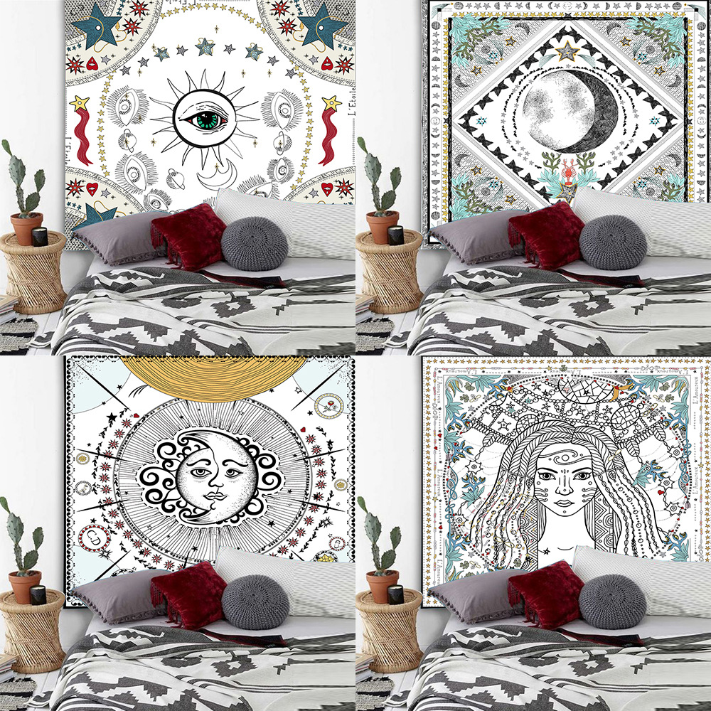 Bohemian tapestry witchcraft medieval European retro tarot cards divination tapestry wall hanging dormitory decoration(China)