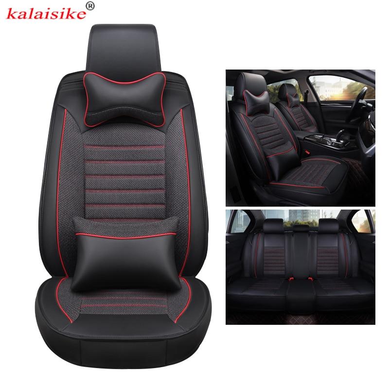 Kalaisike кожаные плюс льняные универсальные чехлы для сидений автомобиля для mazda Volkswagen VW Renault, Hyundai Kia seat Ford Toyota auro styling