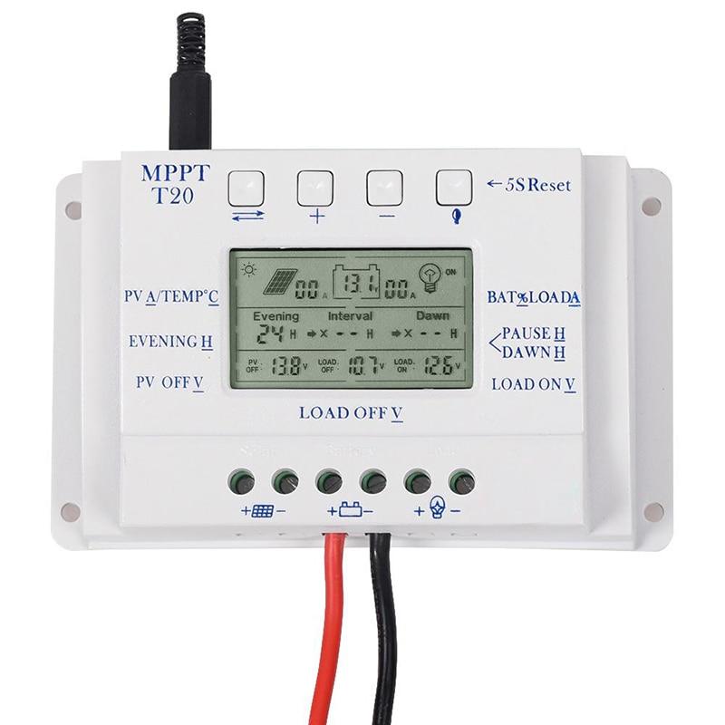 OEM LCD Display 20A MPPT 12 V/24 V Solar Panel Batterie Regler Laderegler ohne Logo Auf oberfläche T20 LCD Wholesa