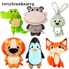 Zoo Photo Props Foil Cartoon Animal Shape Balloon Wedding Birthday Children's Day Toy New Year Christmas Party Decoration