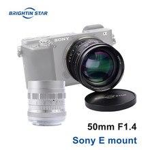 Brightin estrela 50mm f1.4 padrão prime lente da câmera foco manual mf lente para sony a6500 a6400 a6300 a7sii a7riii nex7 nex6 a7