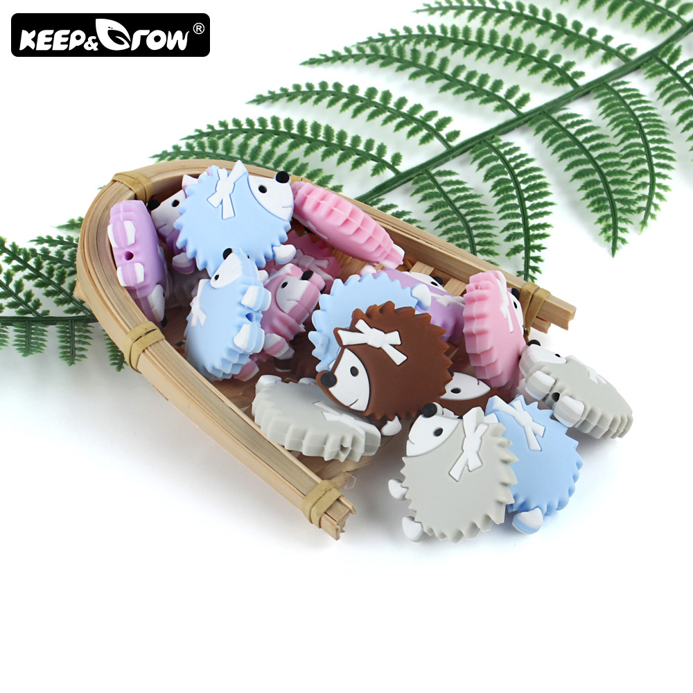 Keep&Grow 10pcs Rodent Silicone Beads Mini Hedgehog Baby Teething Beads BPA Free DIY Necklace Teething Toys Baby Teethers