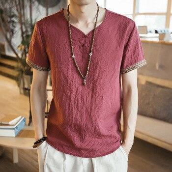 Blusa suelta de Kung Fu para hombre, traje chino tradicional, Cheongsam Vintage, camisetas orientales Wushu, camisetas de lino, CN-126 para hombre