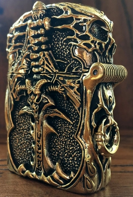 Handmade Carved Lich King Brass Skull Lighter3