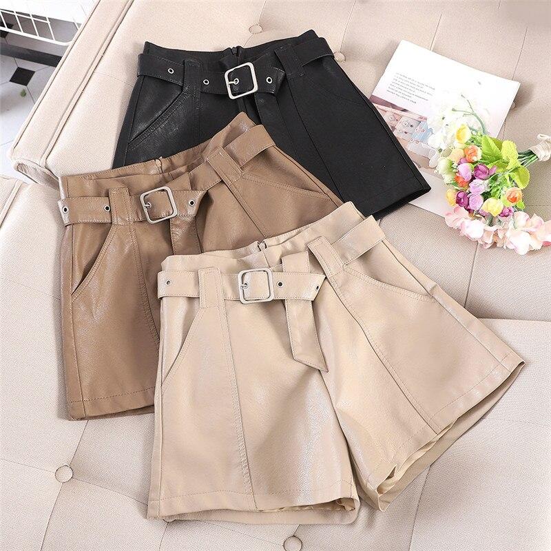 Fashion PU Leather Shorts Women Spring Wide Leg Shorts With Belt Khaki Black Short Femme Faux Leather Sexy Women Shorts C6113