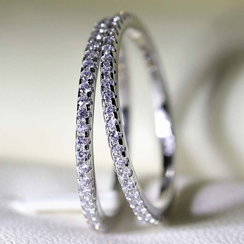 925 Sliver Color Sterling Diamond Ring For Women Full Drilled White Topaz Bizuteria Anillos Gemstone S925 Jewelry Diamond Rings