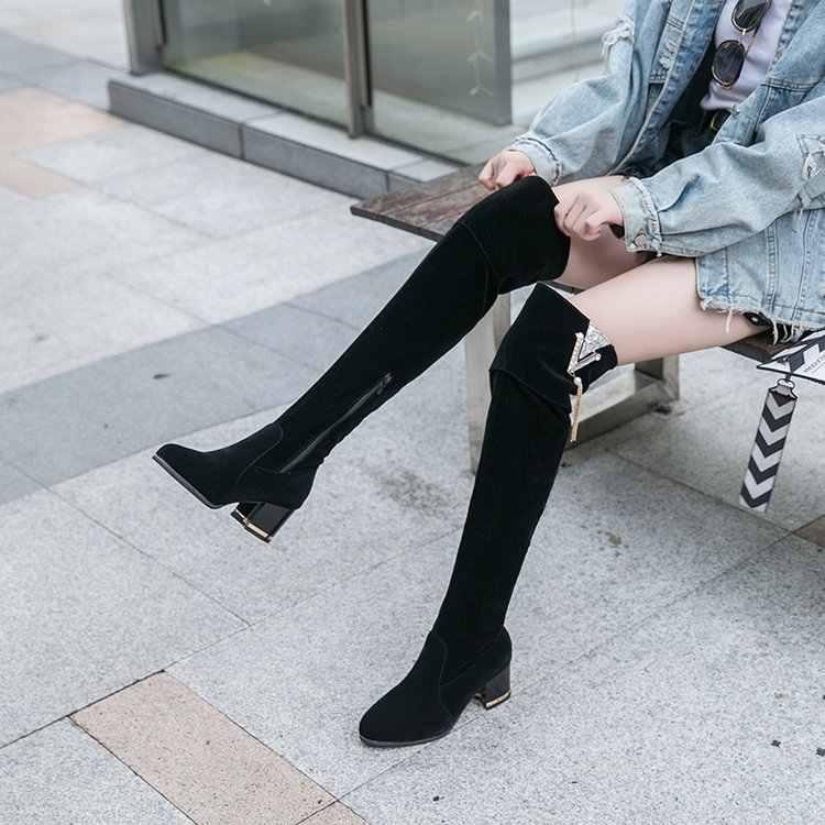 Seksi kış Diz Çizmeler Kadın kar Botları orta topuklu kadın ayakkabı süet rahat kaymaz uzun Çizmeler Kış uyluk Yüksek Çizmeler