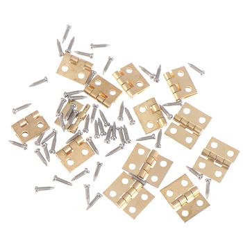 12 zestaw Mini metalowy zawias i śruby do 1 12 dom miniaturowe meble gabinetowe mosiężny zawias domek dla lalek miniaturowa szafka tanie i dobre opinie MINIFRUT 7-12y 25-36m 4-6y 12 + y CN (pochodzenie) Unisex Small parts not for children under 3 years 1 12 Dollhouse Hinges