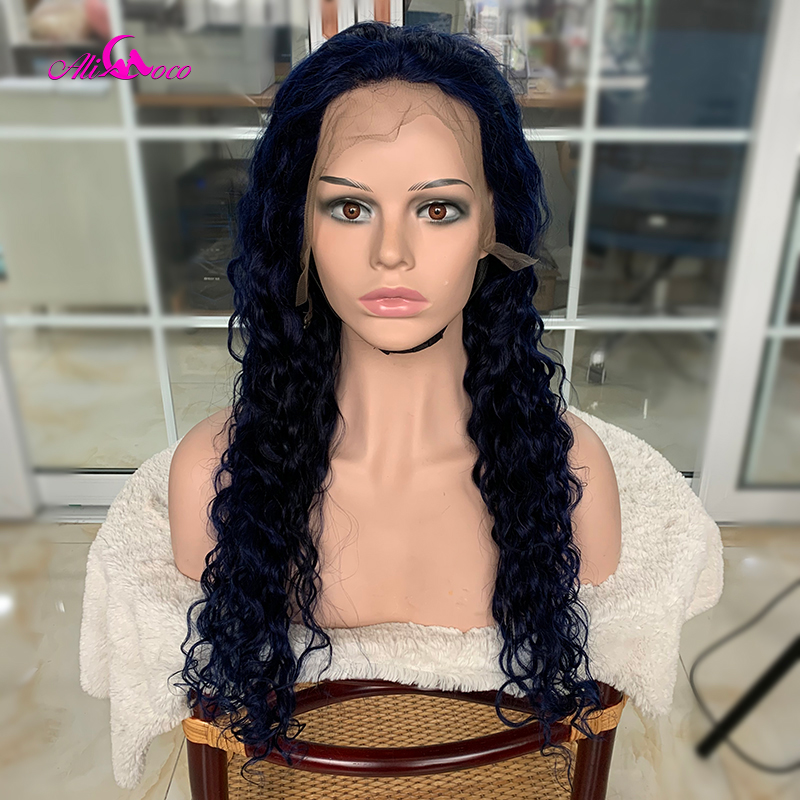 Ali Coco Blue  Water Wave Lace Part Human Hair Wigs 150% Brazilian Remy Water Wave Lace Front Wigs Pre Plucked For Women