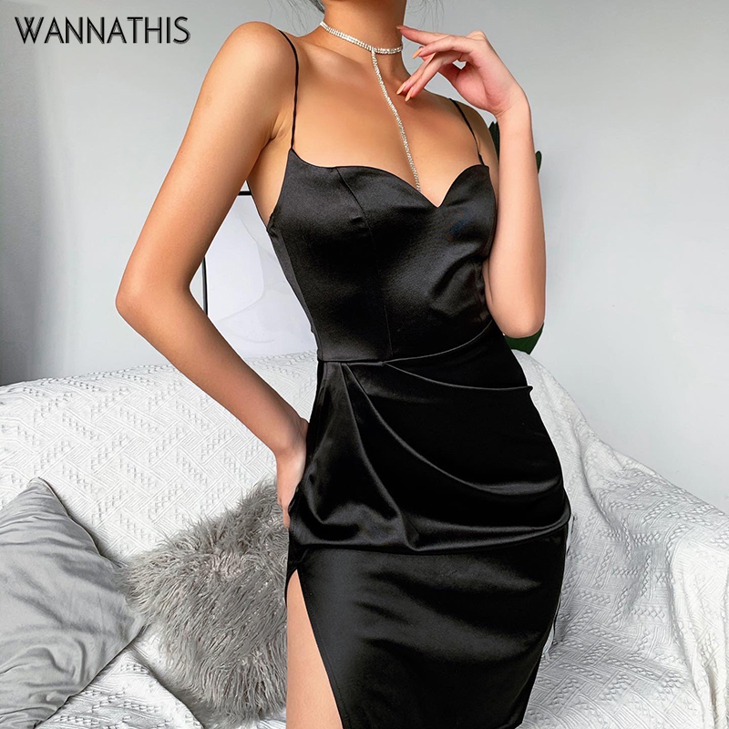 WannaThis Black Satin Spaghetti Strap Bodycon Dress Sexy V-Neck Sleeveless Split Hem Knee-Length Dress Slim Summer Party Dresses